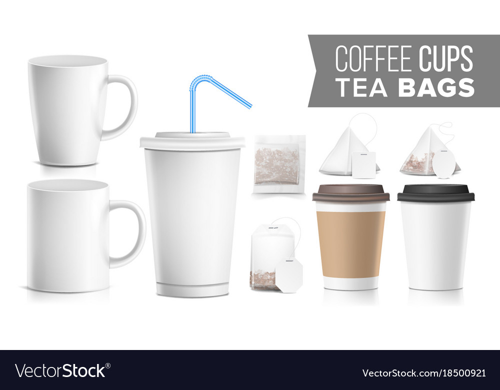 Take-out various ocher paper cups tea bags mock