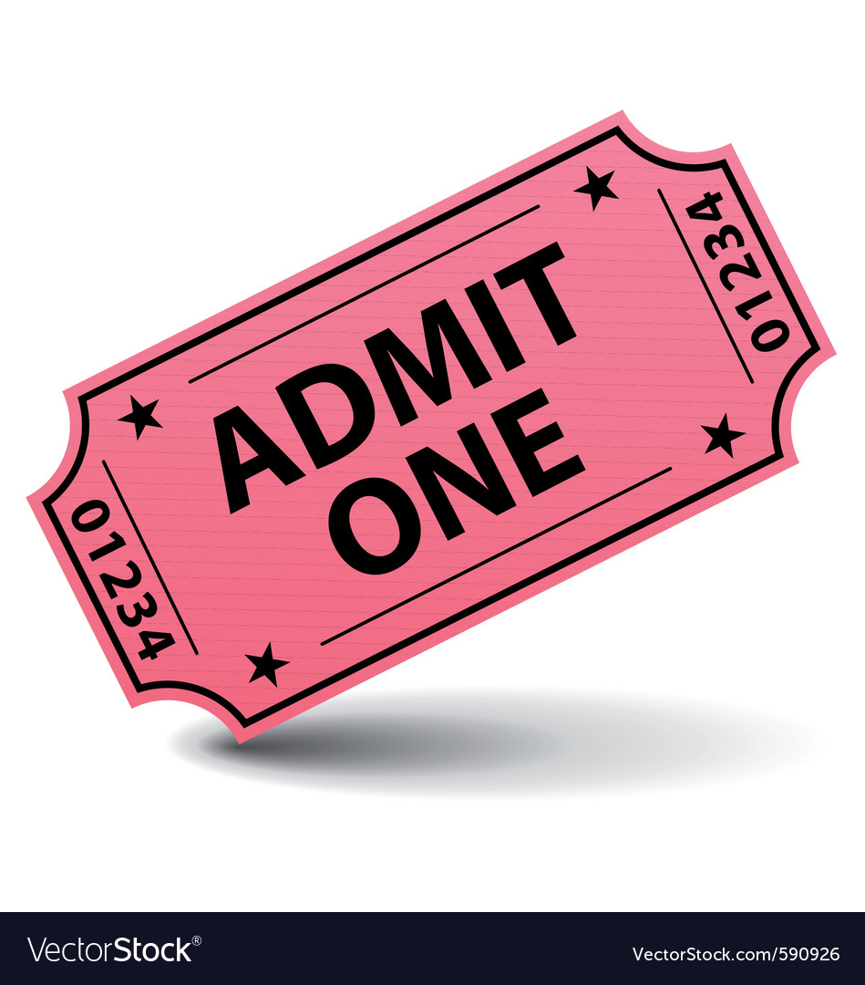 admit one pink ticket royalty free vector image