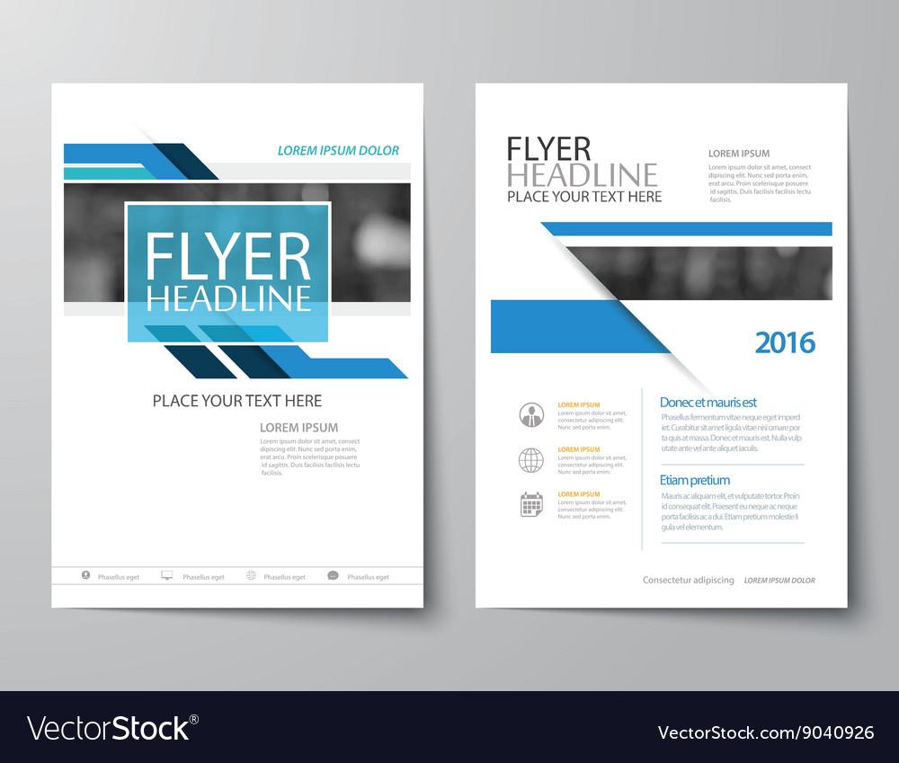 Blue annual report brochure flyer flat design