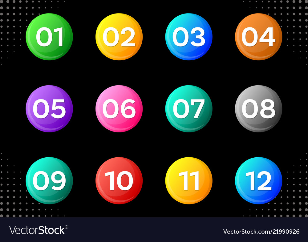 Circle buttons with white calendar month numbers