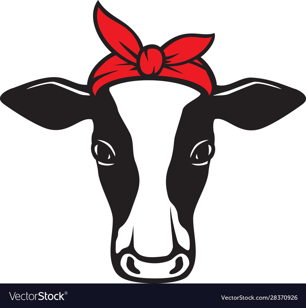 Cow head with bandana vector
