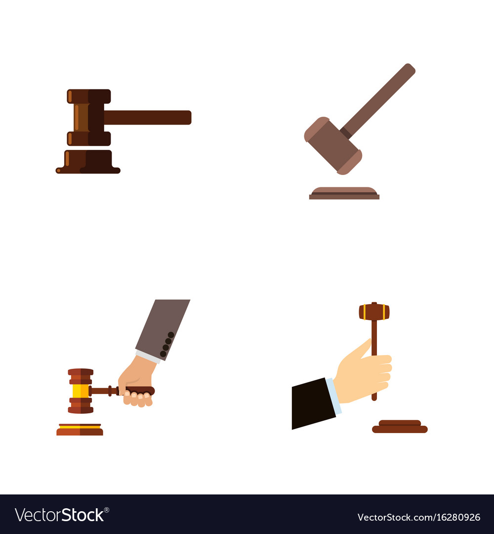 Flat icon lawyer set of tribunal law government