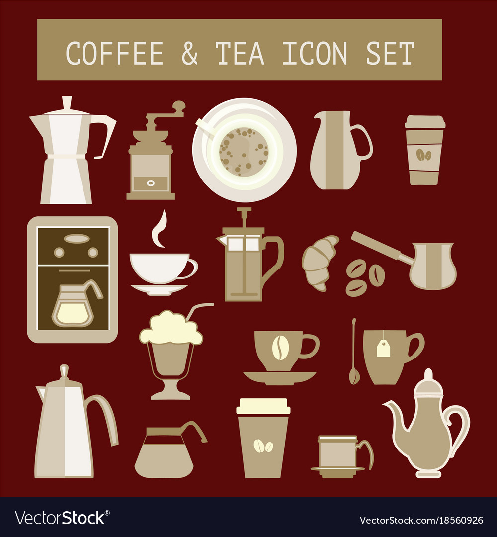 Flat tea and coffee icons for web design