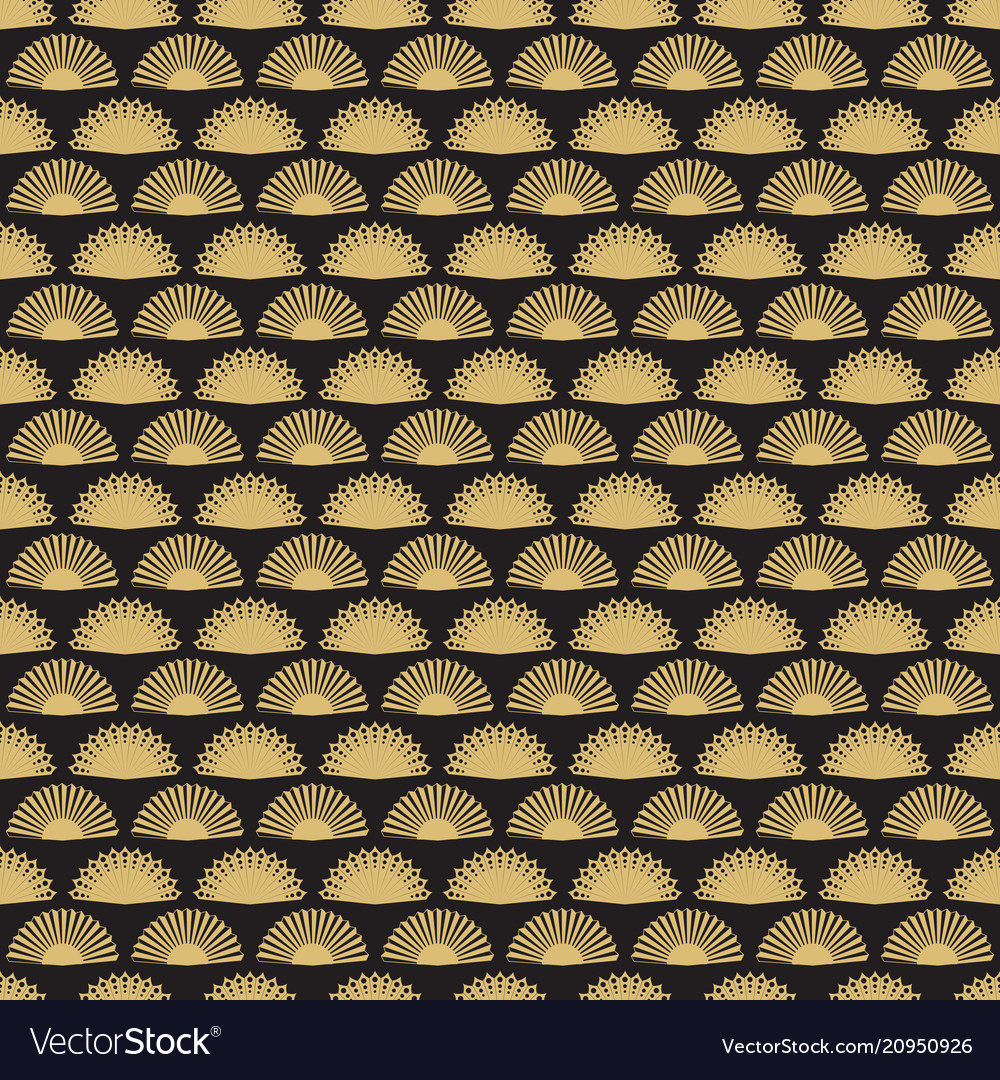 Gold hand fan seamless pattern design abstract
