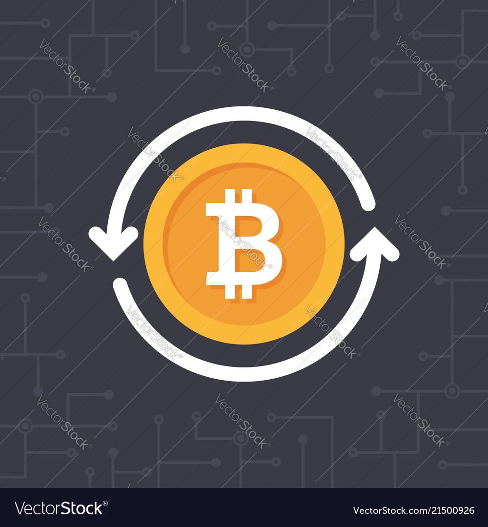 Golden bitcoin with circle arrows