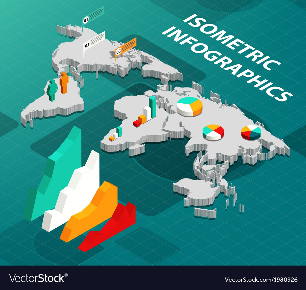 Isometric World Map with Business Infographics vector image