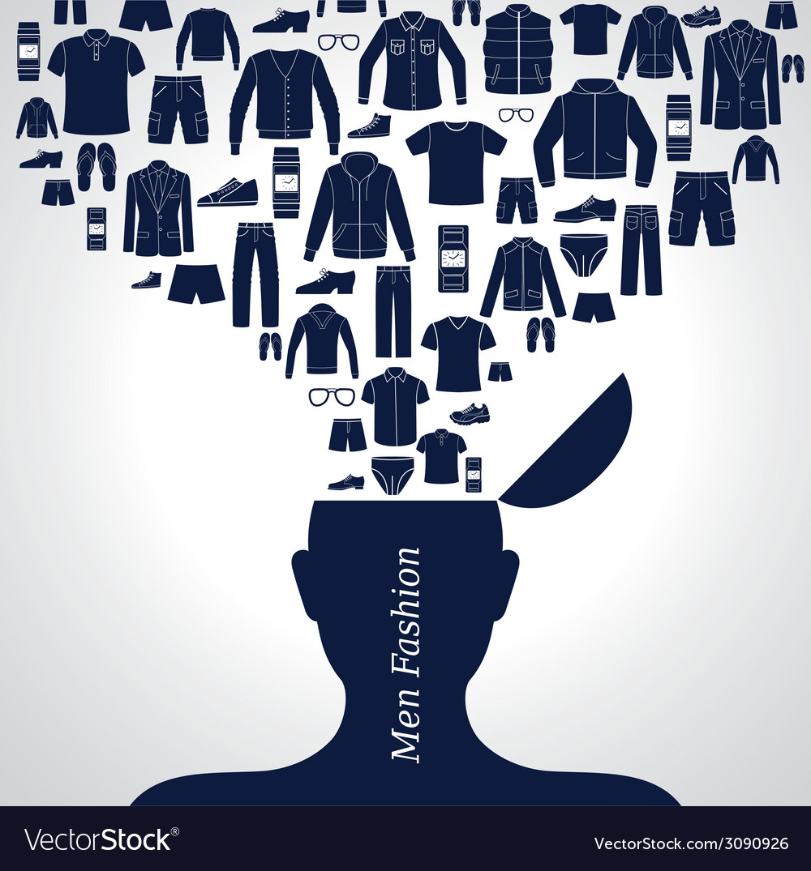 Men s fashion background Set of Clothing icons vector image