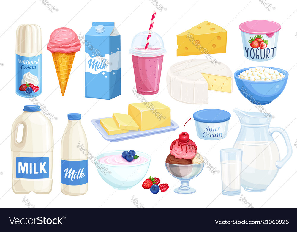 Set dairy products vector image