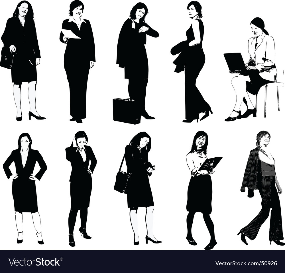 Set Of 10 Office Women Royalty Free Vector Image