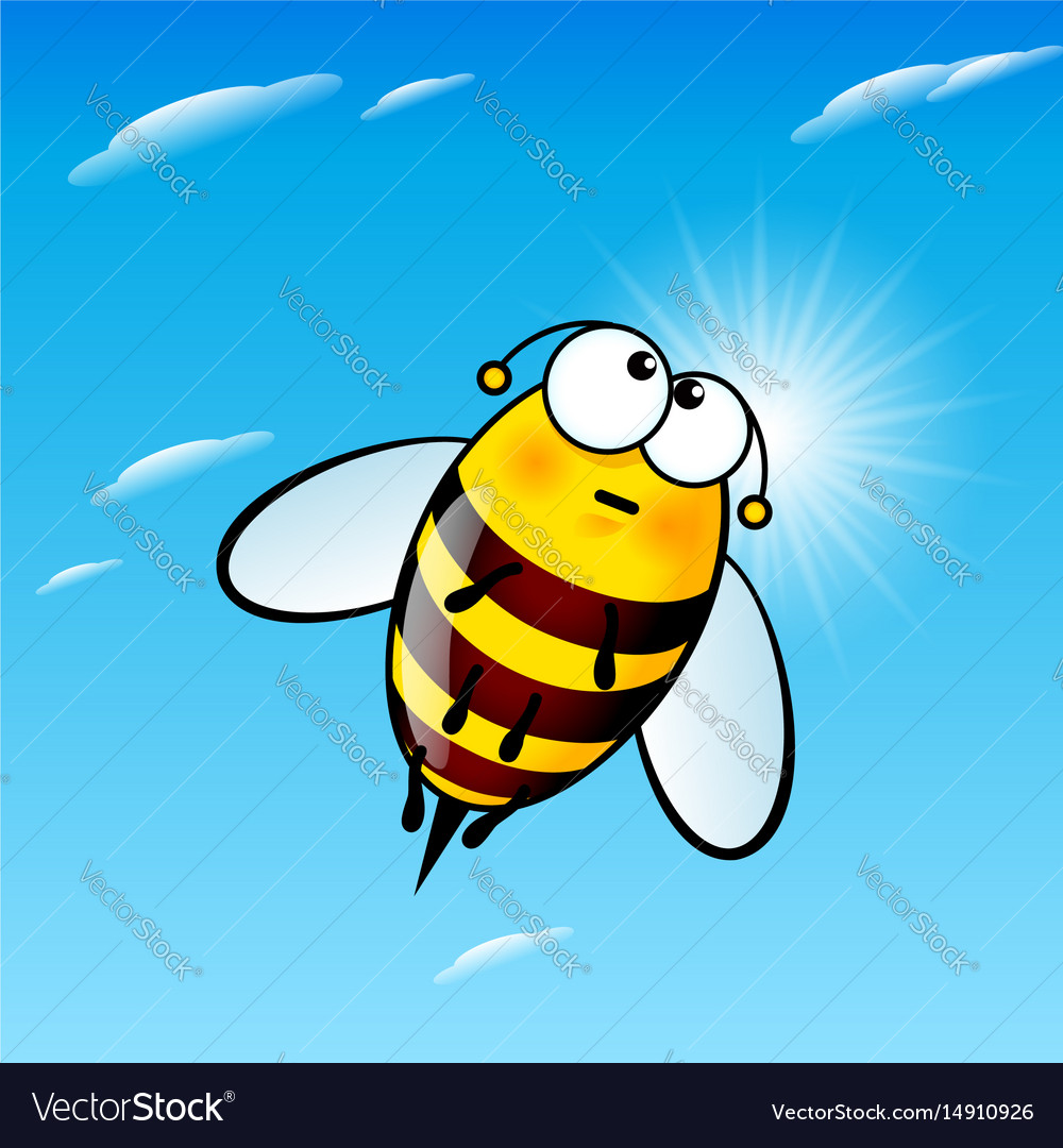 Tired a cute bee in sky vector image
