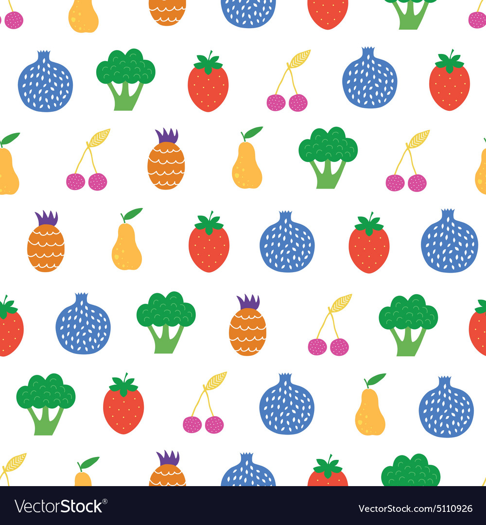 Yummy Fruit Veggies Seamless Pattern