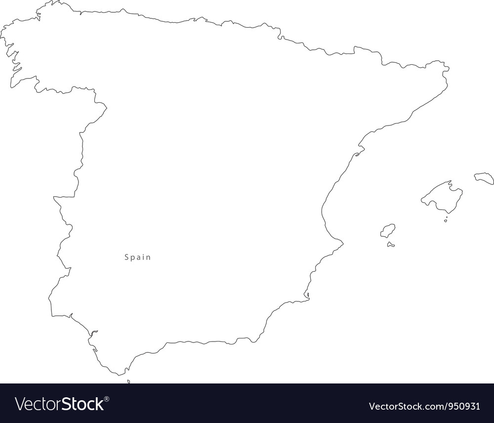 Map Of Spain Drawing.Black White Spain Outline Map
