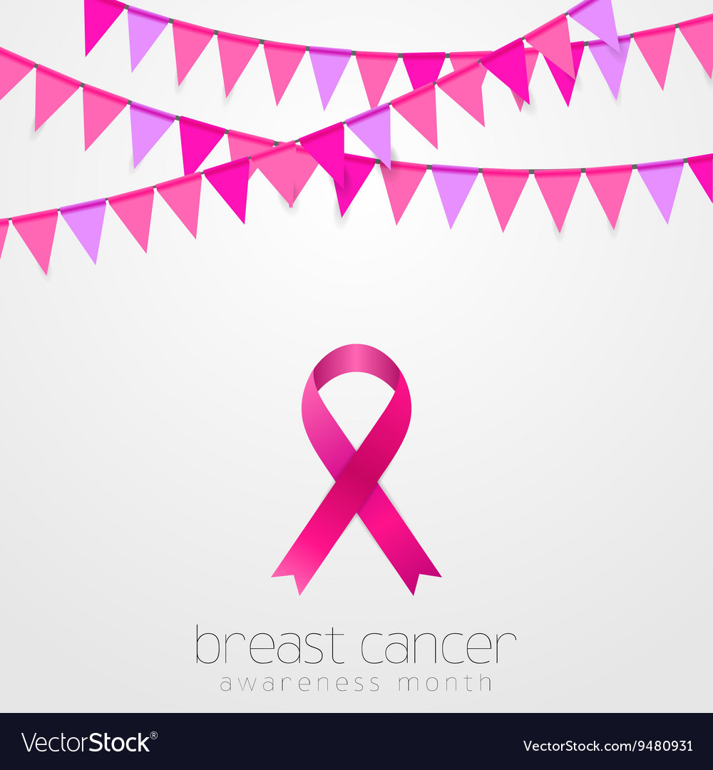 breast cancer awareness month pink flags and vector image