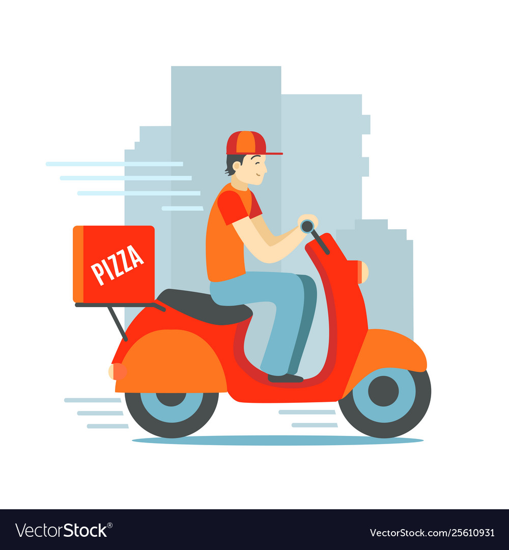 Cartoon character person delivery man scooter