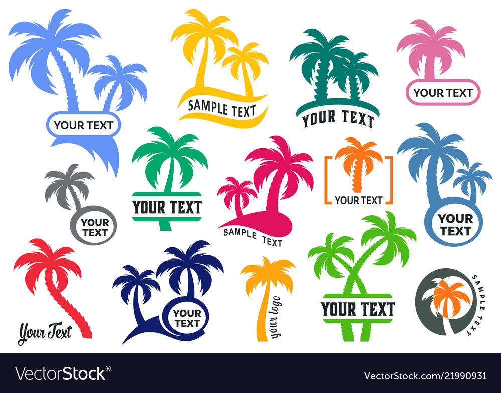 Colorful palm tree silhouette logo set