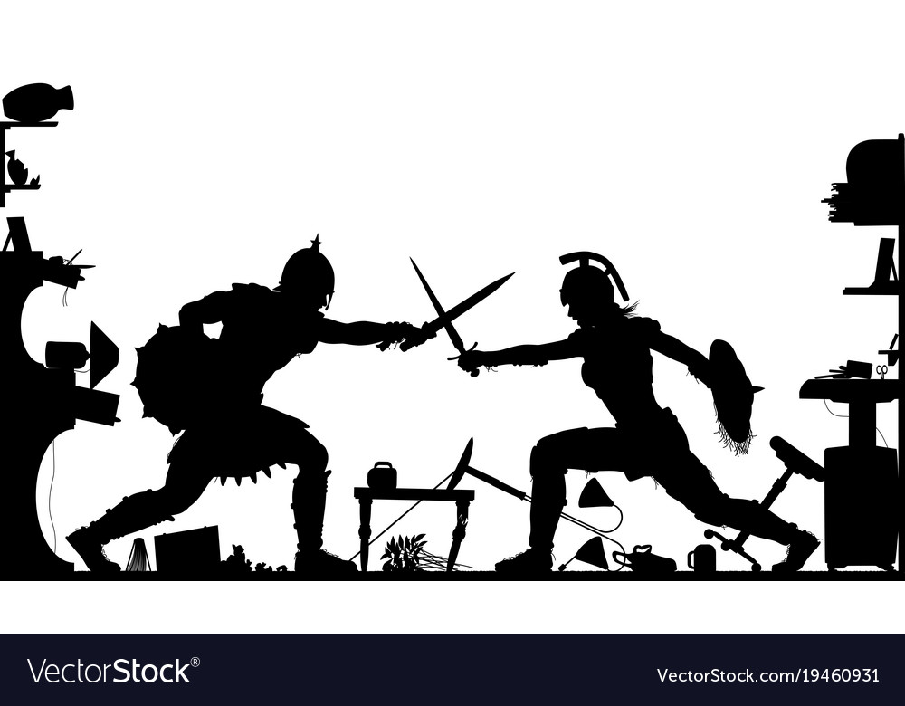 Domestic gladiators silhouette