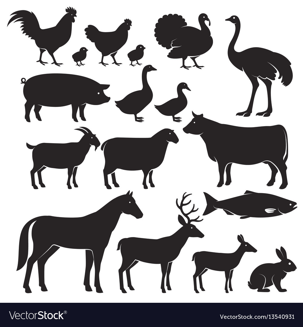 Farm animals silhouette icons