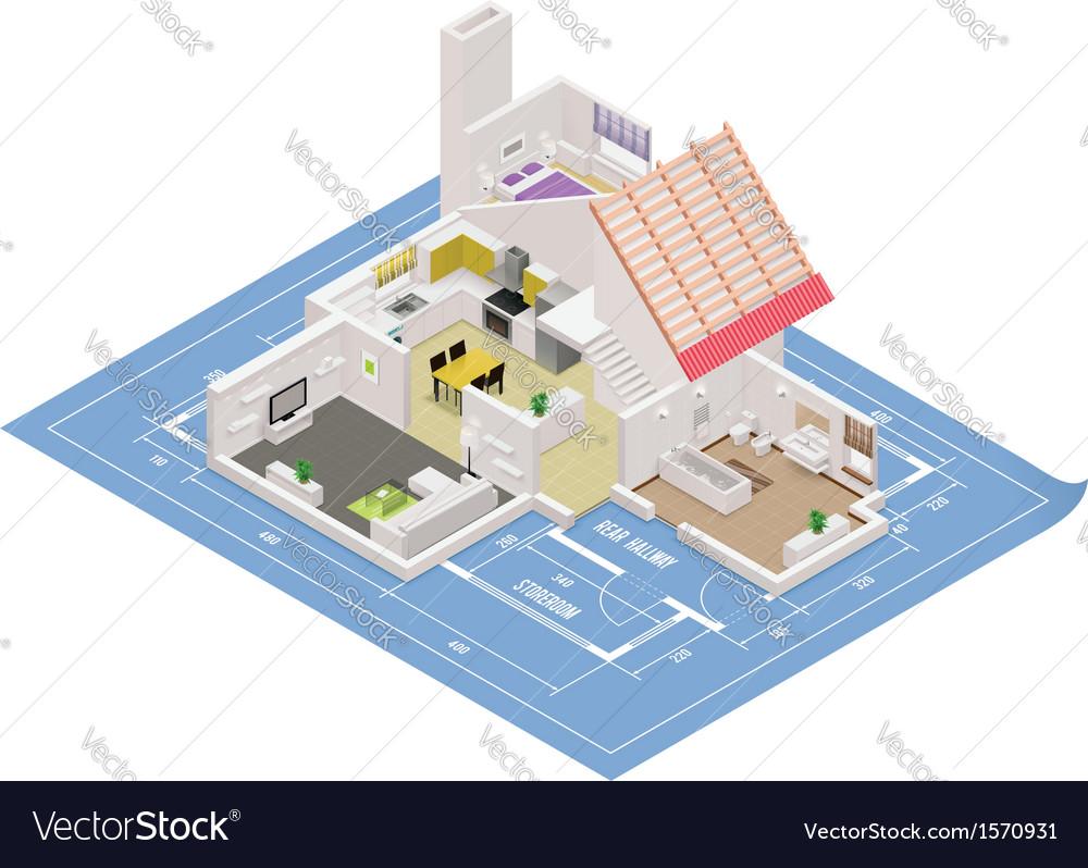 Isometric house cutaway icon vector image