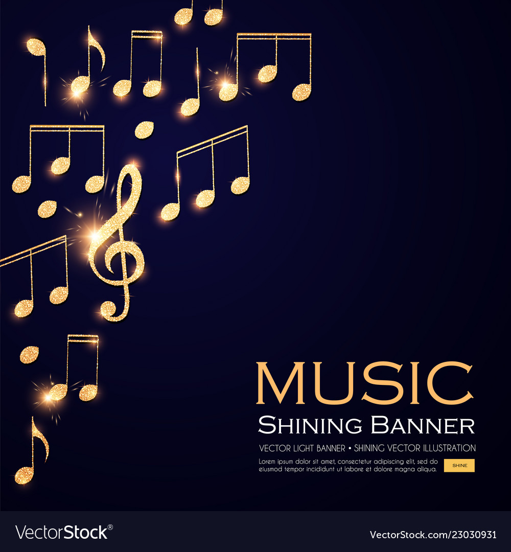 Music background gold shining notes and treble