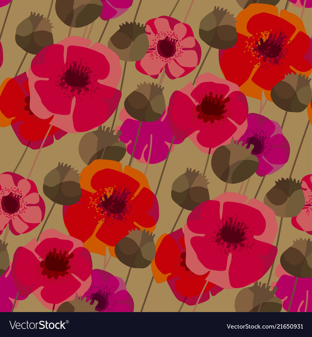 Poppy flowers and seed boxes seamless pattern vector image mightylinksfo