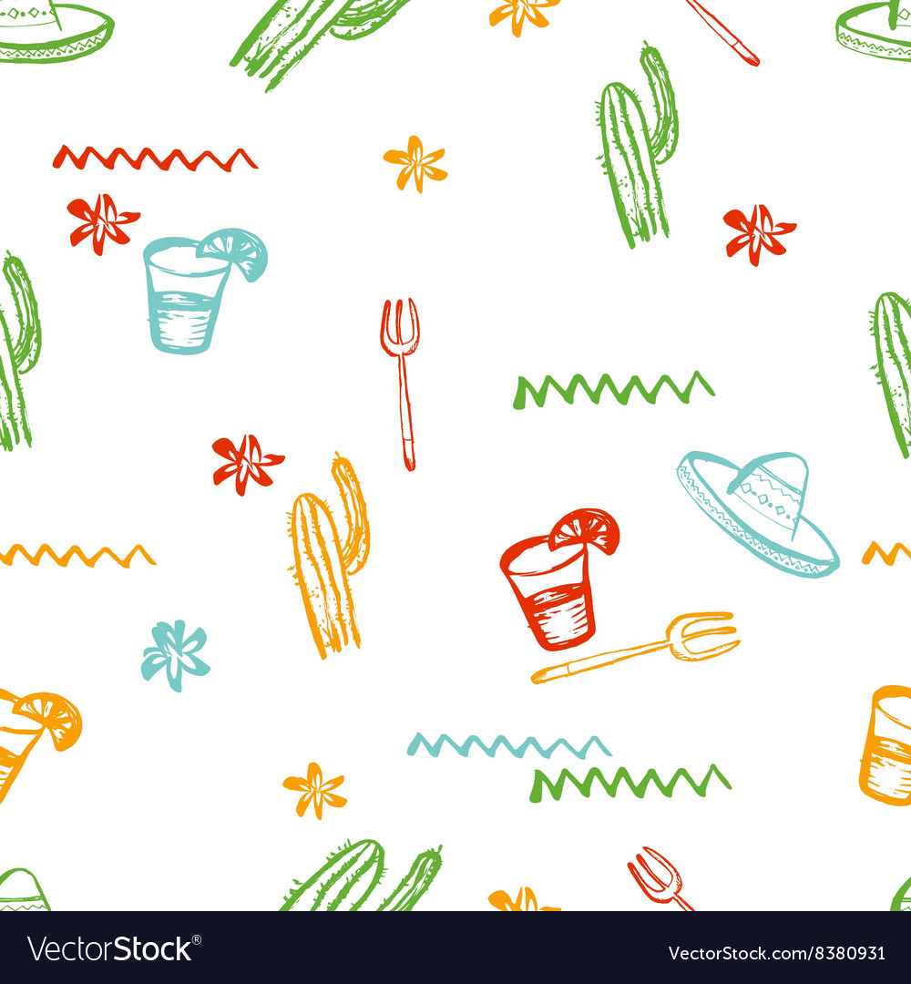Seamless mexican pattern Mexican tequila