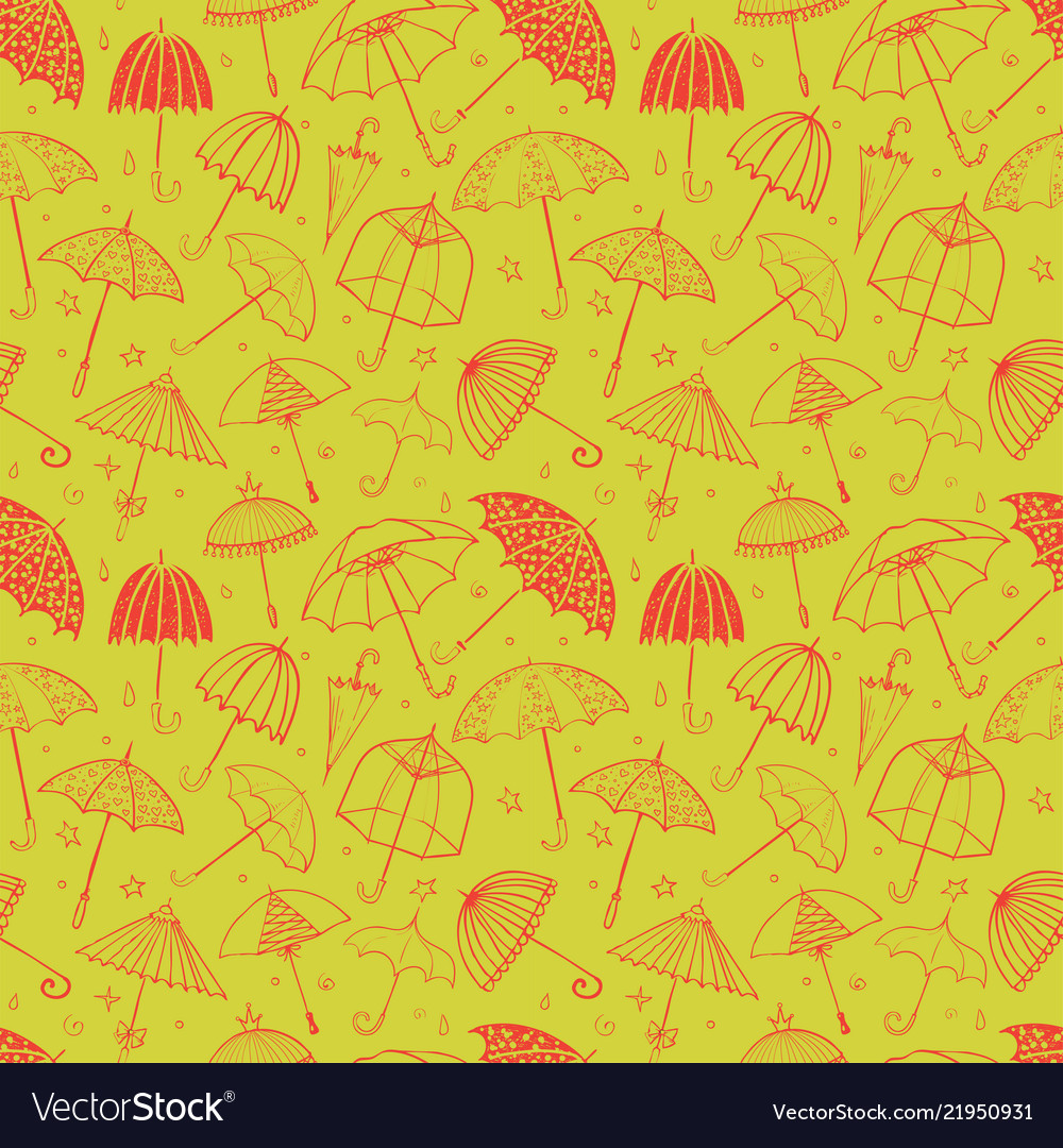 Seamless pattern with red umbrellas on green