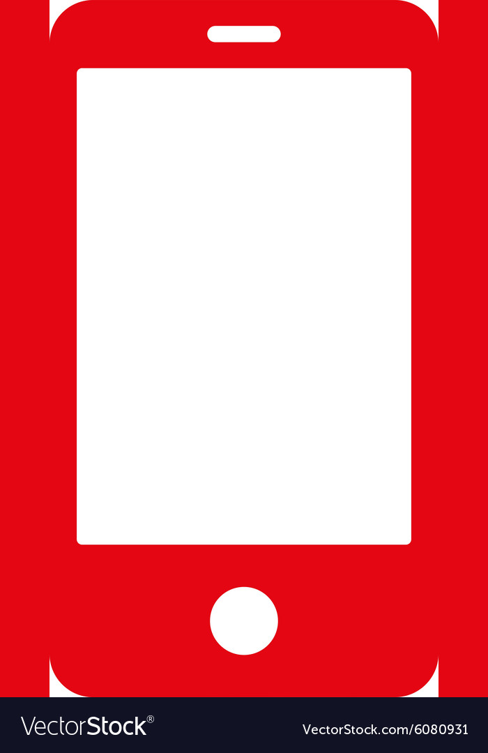 Smartphone flat red color icon