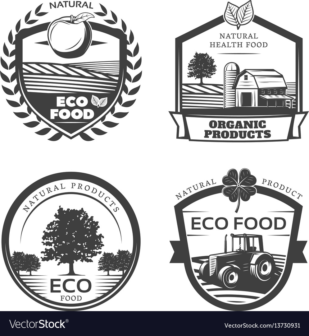 Vintage natural healthy emblems collection