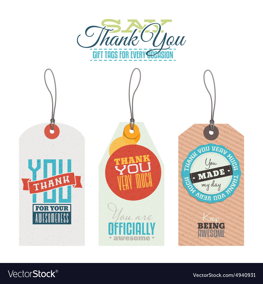Vintage thank you labels hang tags vector image