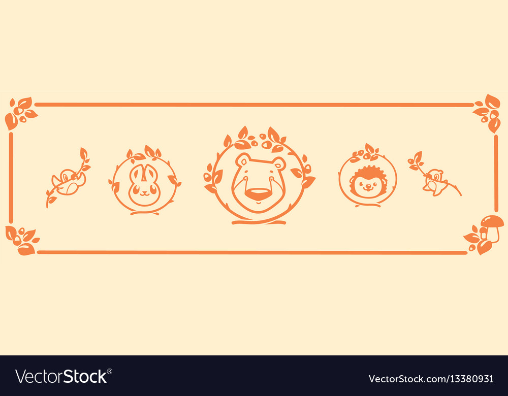 Woodland animals icon set characters bear