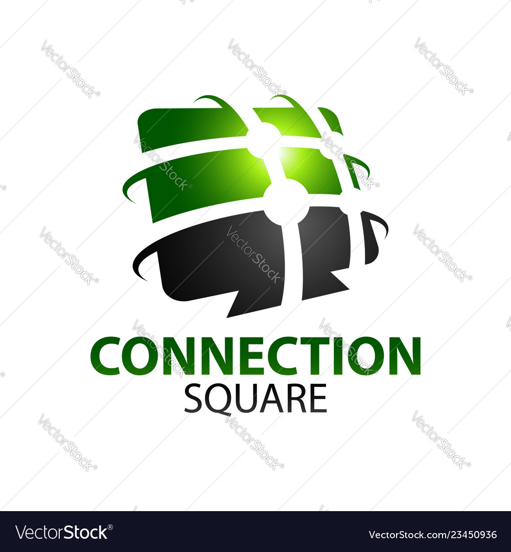 Black green abstract connection square logo
