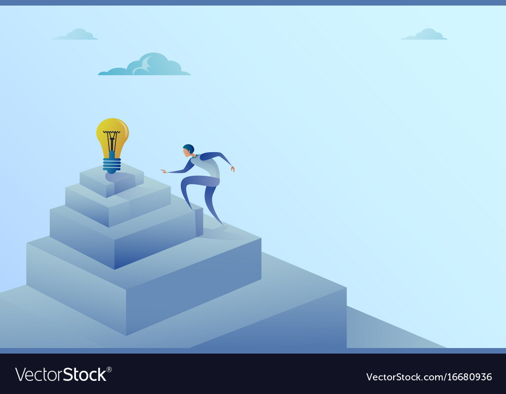 Business man climbing stairs to light bulb new