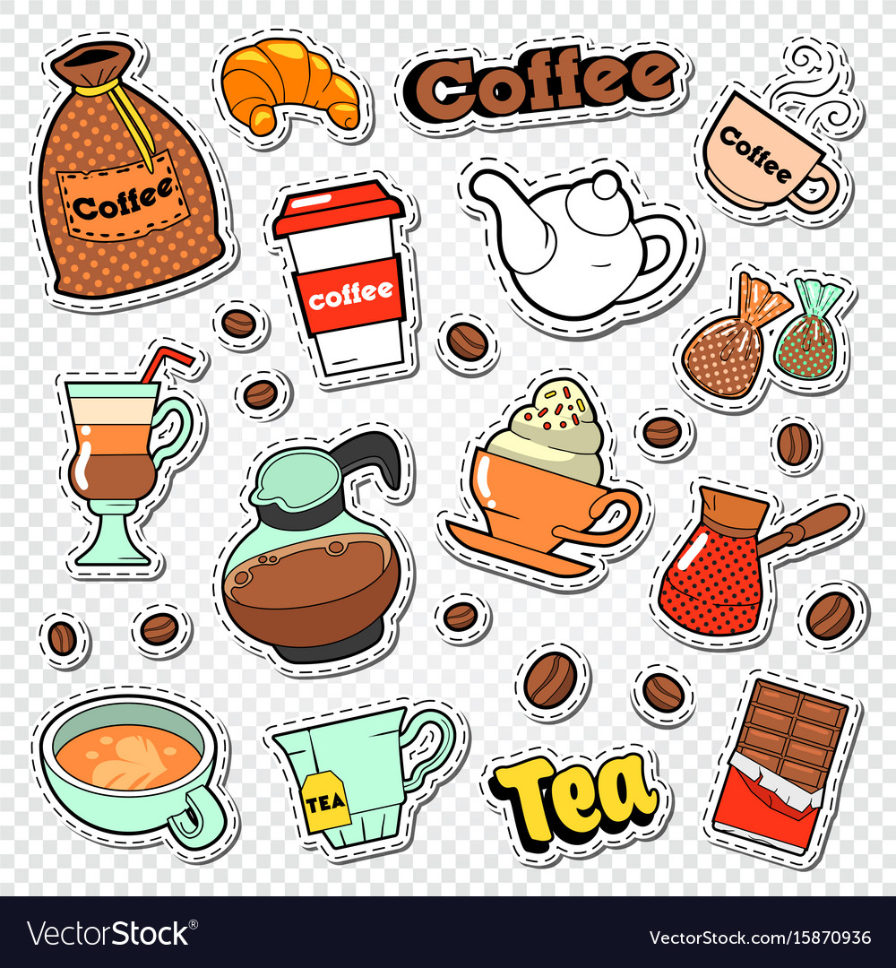Coffee and tea doodle hot drinks with sweet food