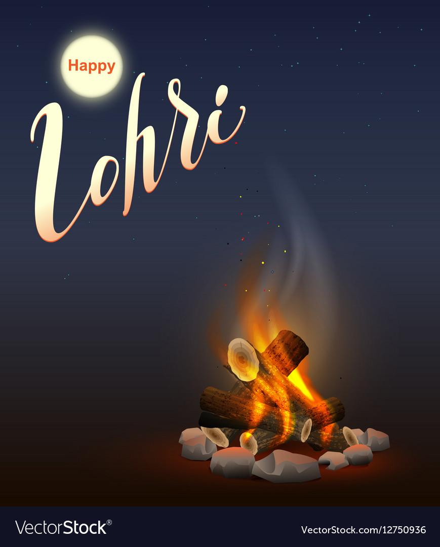Happy Lohri Punjabi festival Fire burning wood Vector Image