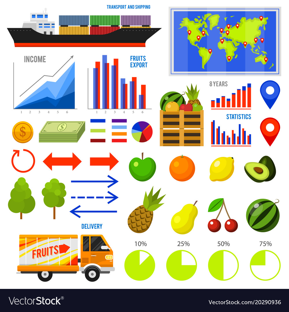 Healthy vegetarian food and fruit infographics vector image