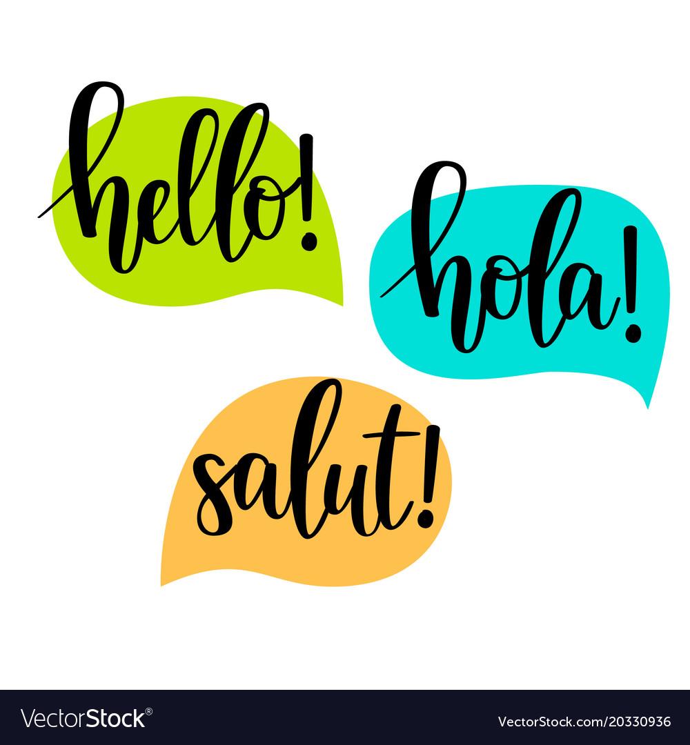 Hello speech bubbles lettering