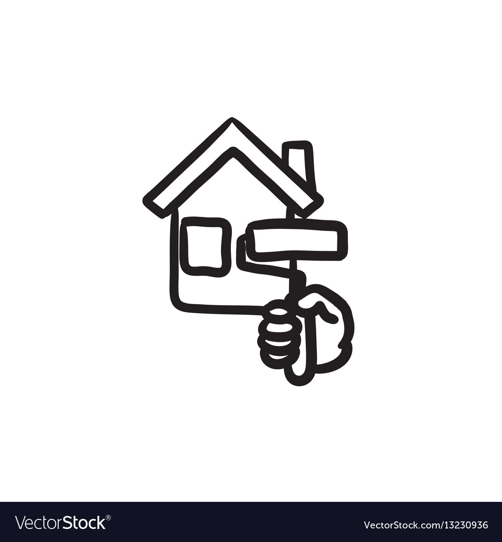 House painting sketch icon vector image