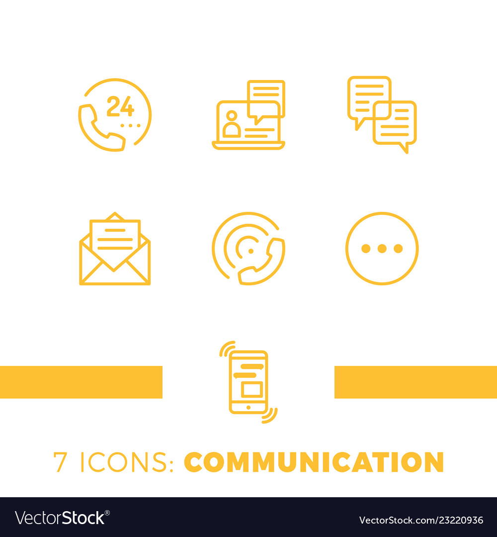 Linear communication icons set universal