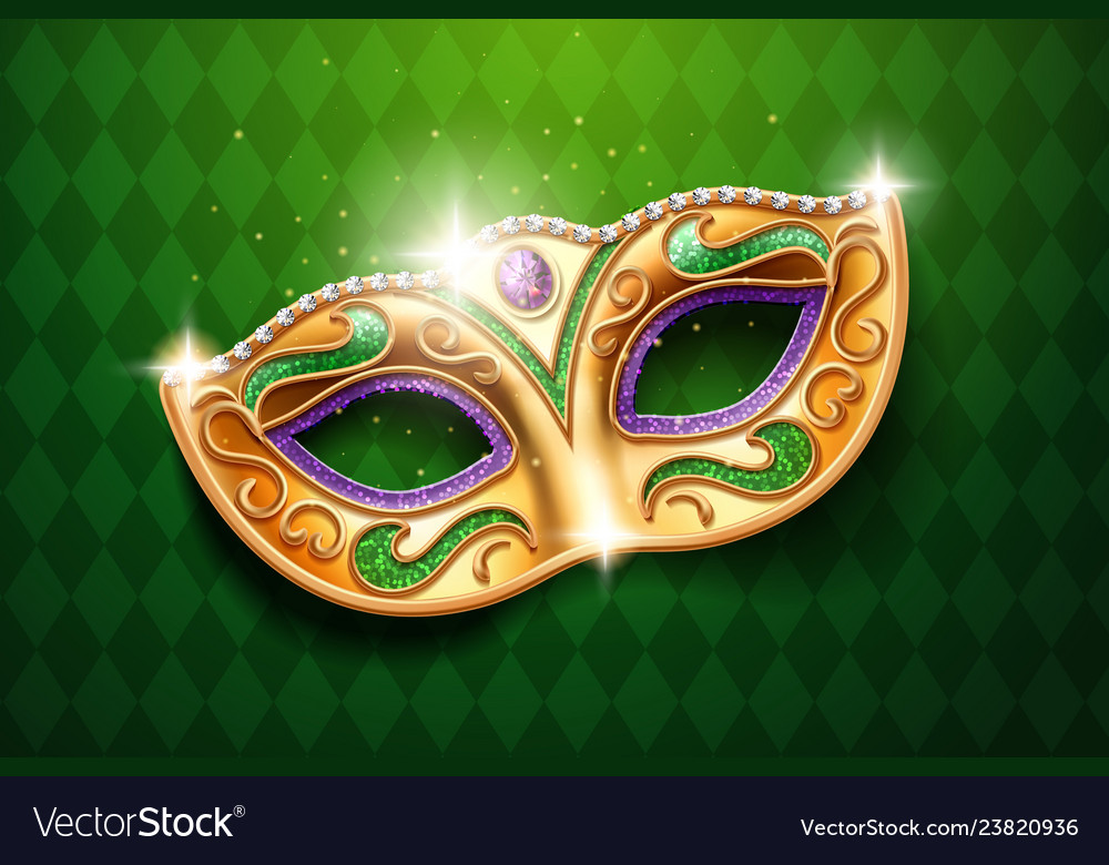 Mask with diamonds for carnival masquerade