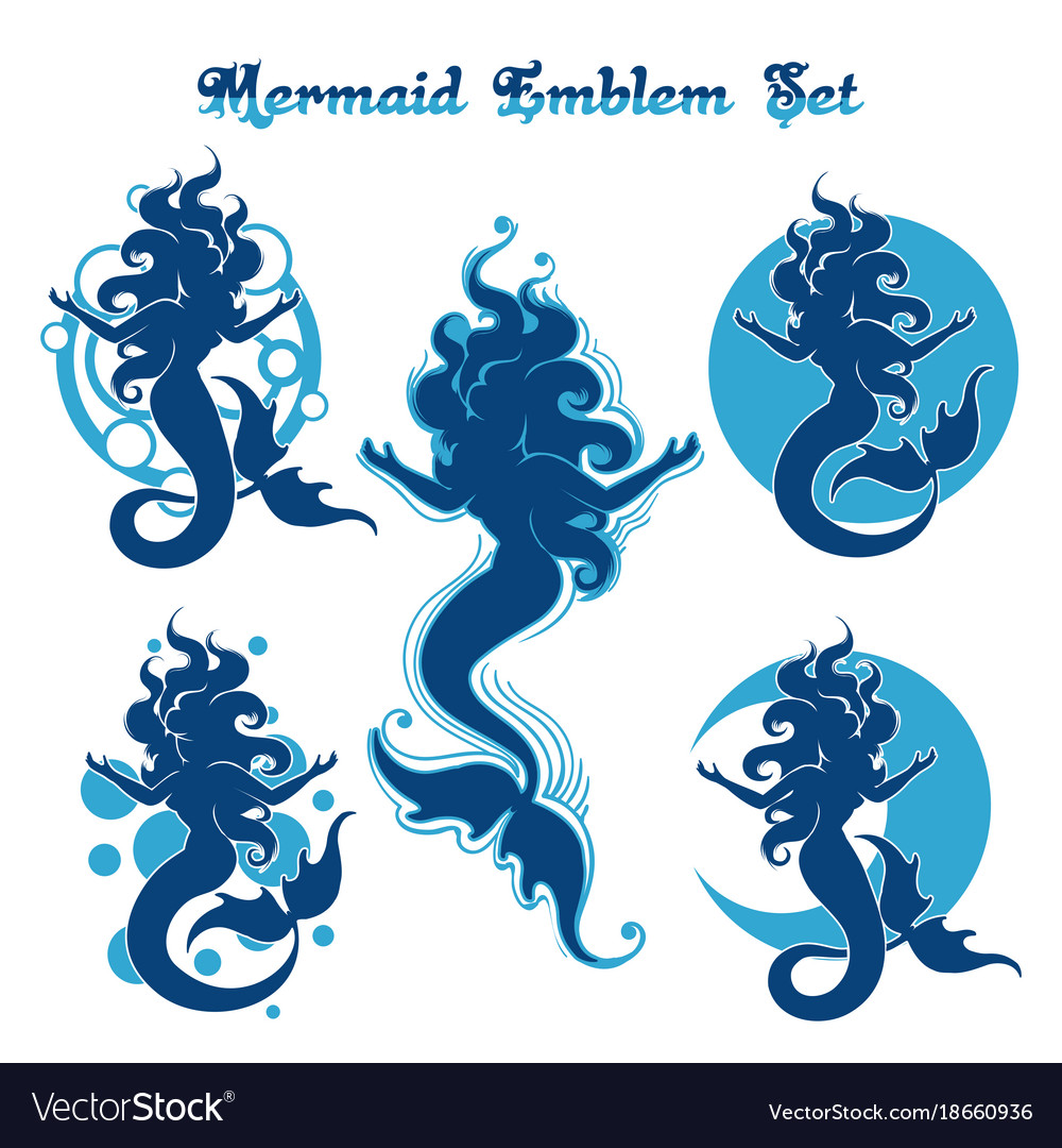 Mermaid emblem set