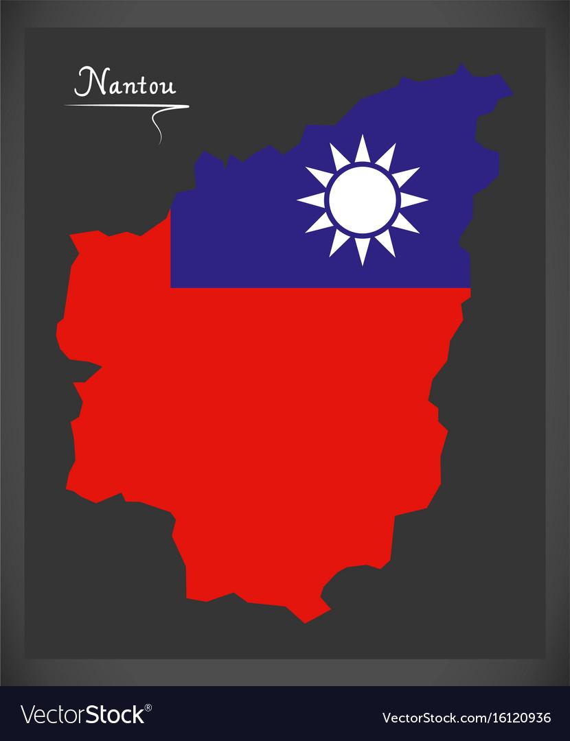 Nantou taiwan map with taiwanese national flag