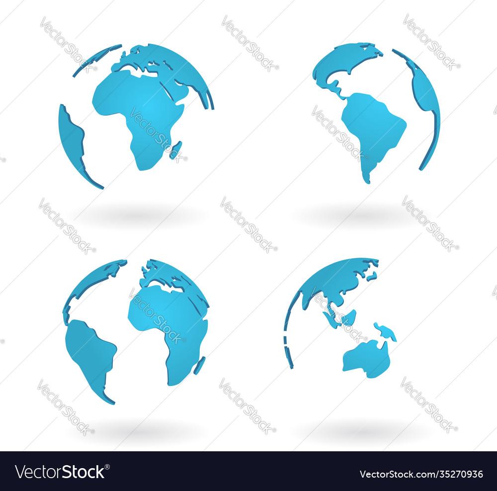 Planet globe world earth map modern concept blue