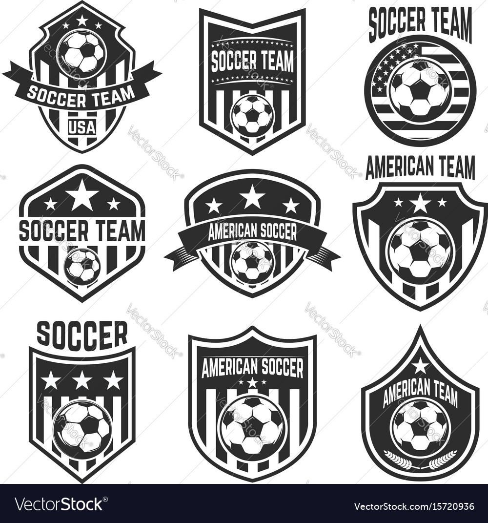 Set of american soccer team labels emblems with