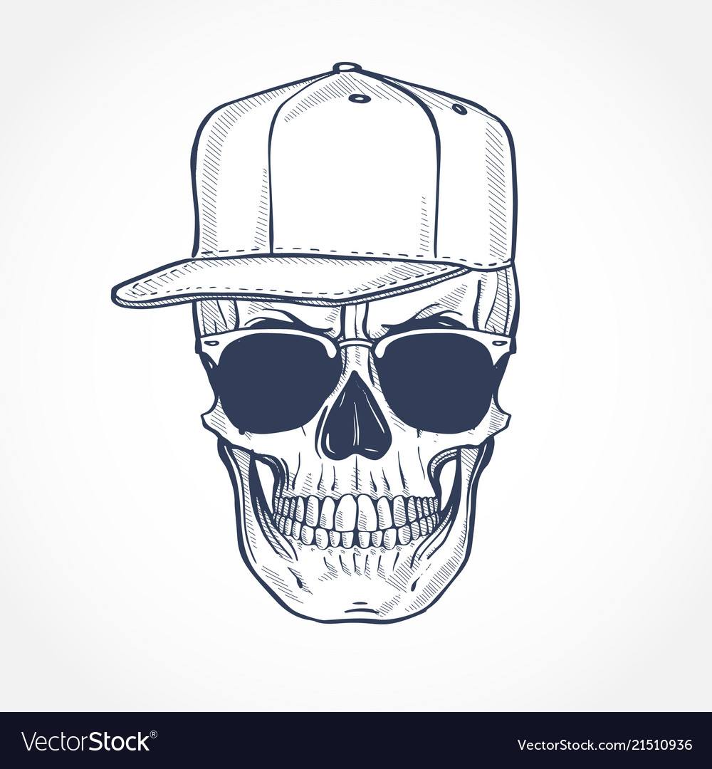 Skull with hat and sunglasses line art