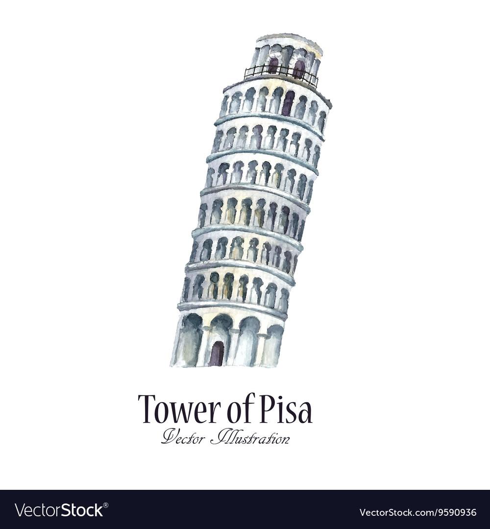 Watercolor tower of Pisa