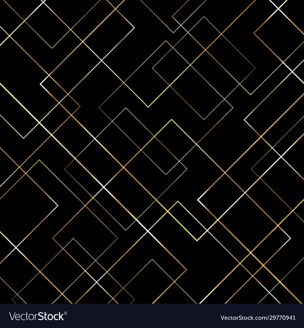 Abstract geometric gold lines pattern on black