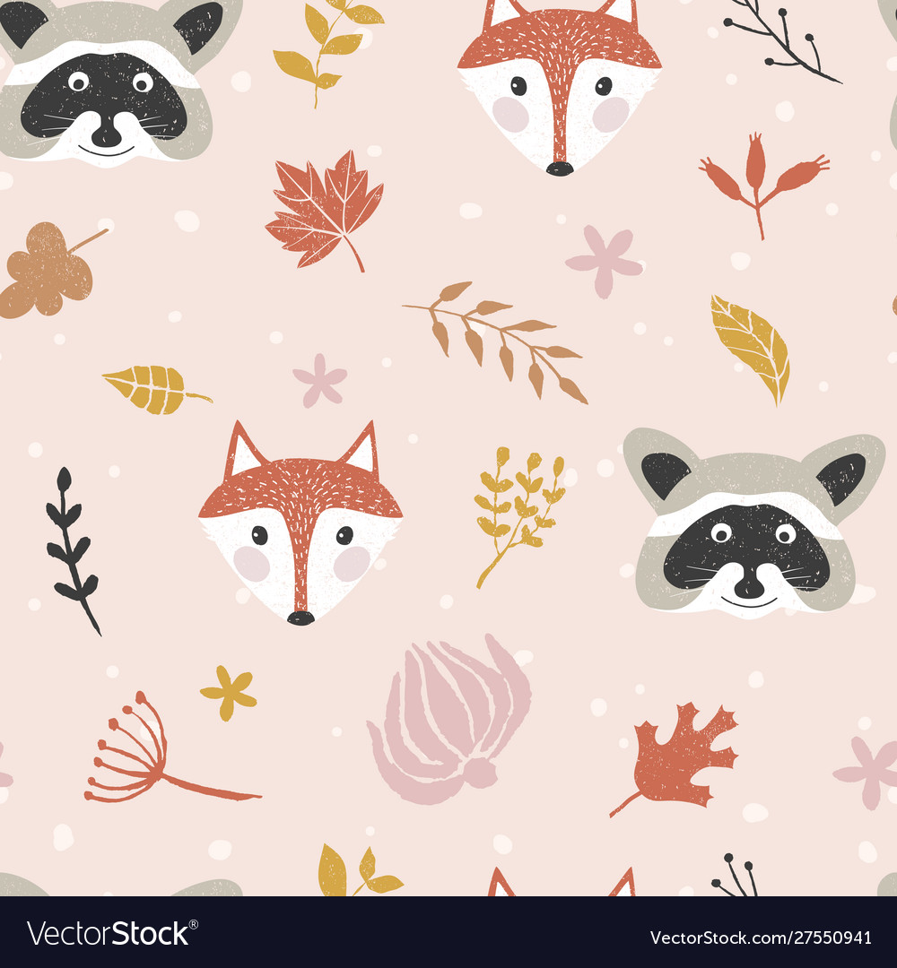 Autumn seamless pattern with forest animals