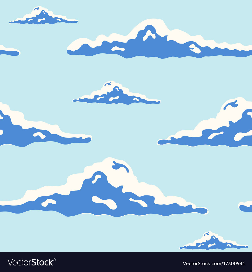 Beautiful seamless pattern with curly clouds of