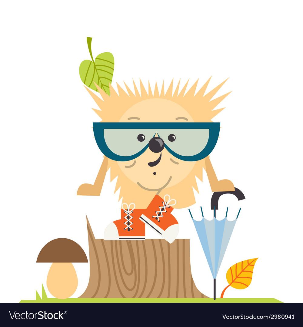 Cartoon Hedgehog Hipster Style