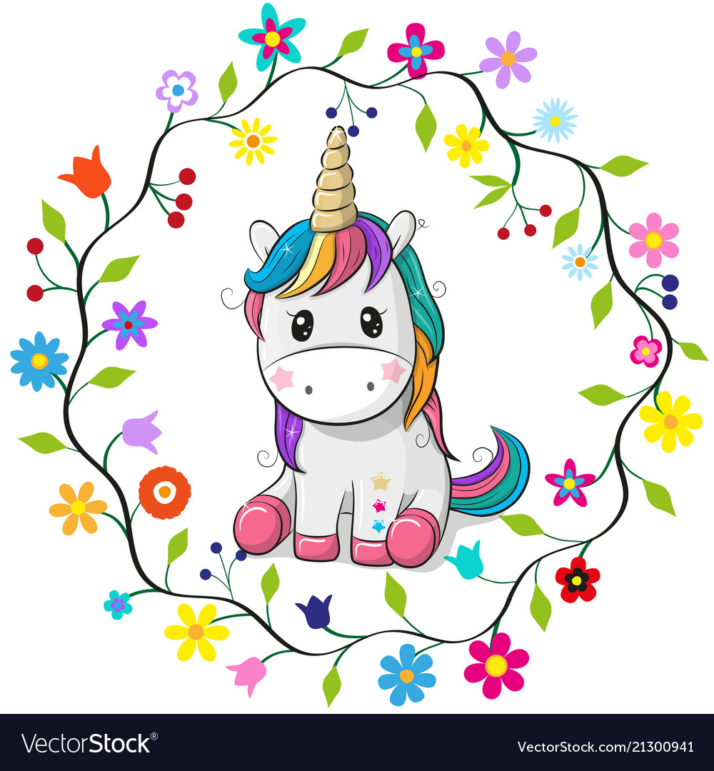 Cartoon unicorn in a flowers frame Royalty Free Vector Image